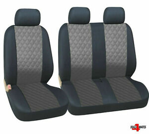 Vw Transporter T5 T4 Caravelle Leatherette Diamond Look Grey - Black Seat Covers