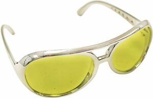 Yellow Lens Silver Frame Elvis Aviator Rocker Glasses Sunglasses