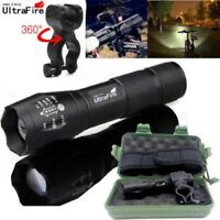 Ultrafire Flashlight 50000LM T6 LED Light Zoom Tactical 18650&Torch Holder Set*