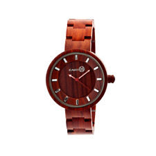 """Earth NWT Wood """"Root"""" Unisex Eco Friendly Wood Bracelet Watch, Red"""