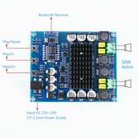 DC 12V 24V Wireless Bluetooth Digital Amplifier Module BLE5.0 Stereo 50W+50W