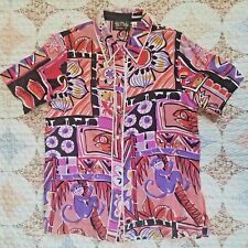 Vtg 90s Bob Mackie Medium Womens Wearable Art Button Blouse Silk Monkey Cat