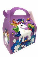 AEX 6 X Feliz Cumpleaños para Niños Fiesta Bolsa Almuerzo Cajas De Regalo (Unicornio Morado)