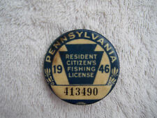 Vintage 1946 PA Pennsylvania Resident Fishing Badge License Pinback Button