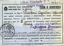 PUBBLICITA' WERBUNG - 1939 -TESSERA DI RICONOSCIMENTO/ MINIST.DELLE COMUNIC.NI
