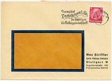 """STUTTGART, Briefumschlag 1937, Max Striffler Spezial-Werzeug-Fabrikation """"Vermei"""