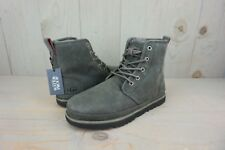 UGG HARKLEY WATERPROOF LACE UP CHARCOAL LEATHER BOOTS MENS US 9 nib