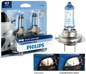 Philips Crystal Vision Ultra H7 55W Two Bulbs Head Light Low Beam Replace OE Fit