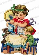 Vintage Image Shabby Retro Little Girl Tea Party Waterside Decals KID491