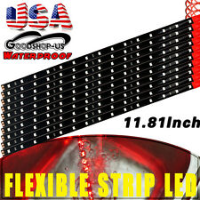 10x Red Car Truck Motorcycle LED Waterproof Flexible Strip Light 30cm /15 DC 12V
