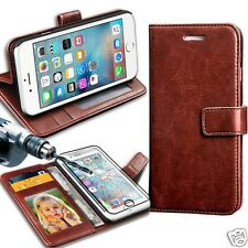 Brown Rich Luxury Leather Wallet Flip Case For Various Phones & Tampered Glass