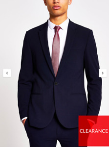 River Island Hades Ultra Skinny Suit Jacket Navy 38R 38 EU 97R BNWT New
