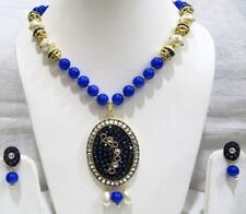 Handmade Blue Beaded Pendant Set with jade and Blue gemstone Beads