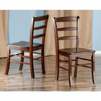 Set Of 2 Dining Chair Ladder Back Kitchen Furniture Wood Modern Traditional NEW