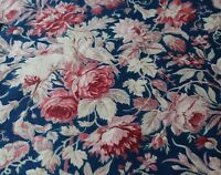 Antique c1870 French Cotton Red Floral With Bird & Roses Indigo Ground Fabric