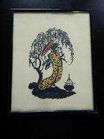 Rare découpage japonisme femme Art Déco 1920 -1930 collage tissu & dentelle