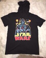 Star Wars Mens Darth Vader Short Sleeve T Shirt W/Hoodie Black Size XL