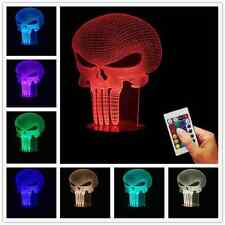 The Punisher Skull 3D Acrylic USB Color Changing LED Night Light Halloween Lamp