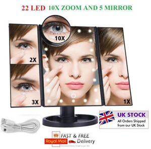 MAKEUP MIRROR MAGNIFYING VANITY MAKE UP 22 LED LIGHT BATHROOM BEAUTY 10X ZOOM UK