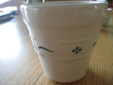 Longaberger Small green Pottery with Green Swoosh & Abstract Flower Pot Planter