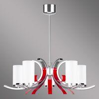 Modern Hängelampe Marami / Modern Leuchte / Design Deckenlampe Rot Silber