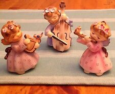 Vintage Lefton Japan Angel Musicians & Bird Flute Harp Cello Figurine Trio Euc