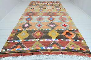 """Turkish Vintage Rug Handmade Colorfull Kilim Floor Carpet Oriental Rugs 83""""x164"""""""