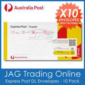 10 x AUSTRALIA POST EXPRESS PREPAID SMALL DL ENVELOPE & TRACKING AusPost Letter