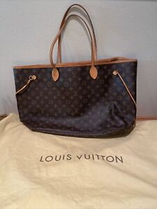 Neverfull GM Louis Vuitton Monogram Large Handbag Tote 100% Auth LV With Dustbag