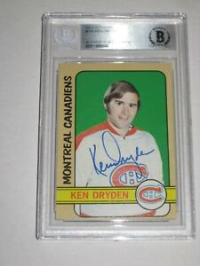 KEN DRYDEN Signed 1972-73 TOPPS Card #160 Beckett Authenticated