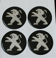 55mm PEUGEOT Felgenaufkleber Aufkleber Sticker Emblem Radkappen Silikon SCHWARZ