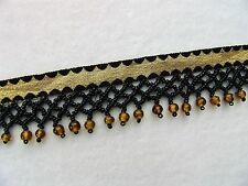 "BTY ~ Stunning 1 3/4"" Glass Beaded Fringe Trim with Metallic Gold Ribbon"