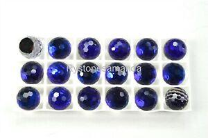 6 Swarovski 10mm Bermuda Blue Flatback Fire Balls #4861 -V3886