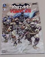 DC IDW Batman TMNT #1 Dynamic Forces Silver Sign + Head Sketch by Haeser