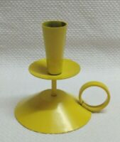 VTG YELLOW METAL BOSTROM SWEDEN CANDLE HOLDER With Ring Handle ~ Marked
