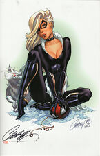 J SCOTT CAMPBELL signed BLACK CAT STATUE ART PRINT w COA MARVEL SPIDER-MAN MJ
