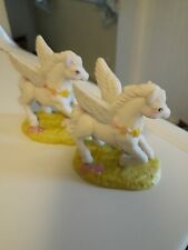 "2 1982 Fantasy Series Porcelain #4960 Pegasus Figurine 3 1/2"""