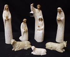 "Nativity Set 9.5"" , 7 Pieces glitter white Polyresin Set, New in Box,  Christmas"