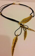 "NWT Gold  Leaf Necklace 20"" Costume Jewlery"