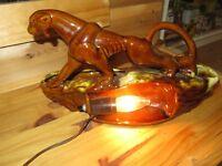 Mid Century Modern Jaguar Panther Cat TV Lamp & planter