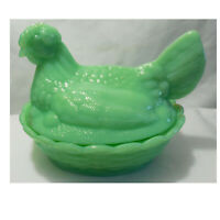 "NEW Jadeite Green Glass Split Tail 6"" L x 5"" W x 5"" H Hen Chicken on Nest Basket"