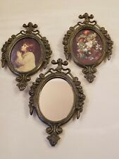 """NEW 3 Vintage Photo Frames Mirror Oval Flower ITALY Fit Oval Picture 2.25""""X 3"""""""
