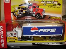AUTO WORLD ~ Peterbuilt Pepsi Racing Rig with Trailer ~Also Fits AFX, AW, JL