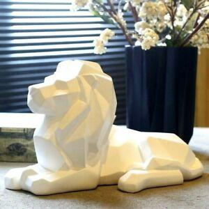 Nordic Geometric Lion Statue Sculpture Figurine Tabletop Home Office Decoration