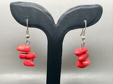 Lovely Sterling Silver Natural Red Coral Earrings