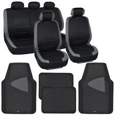 Black & Gray Car Seat Covers w/ Split Bench & Black Two Tone Rubber Floor Mats