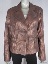 NWT $188 C&E STUDIO M Metallic Suede Leather Gold Bronze Swing Jacket Coat NEW
