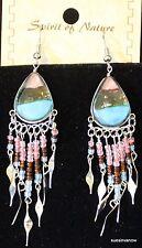 "Native Design Handmade Art Glass Earrings  Casual Cool Cute Playful 3"" Drop J-1"