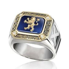 White Sapphire Party Ring Jewelry Size 10 New listing Fashion Lion 18K Gold Rings for Men