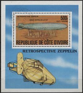 Ivory Coast 1977 C63 500fr Zeppelin airmail souvenir sheet